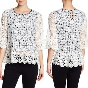 NWT Pleione Cutout Mixed Media Lace Gingham Top